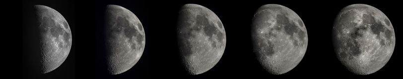 5 fasen van de toenemende maan Stock Foto