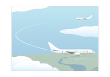 Fasen van een vlucht afdaling royalty-vrije illustratie