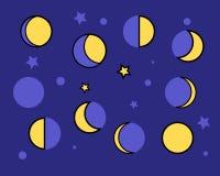 Fases amarelas da lua em uma obscuridade - fundo azul Fotos de Stock Royalty Free