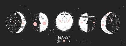 5 fases da lua ilustração royalty free