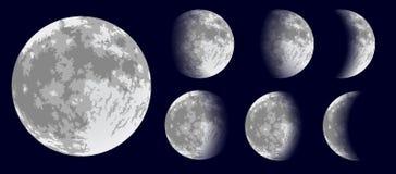 Fases da lua Ilustração do vetor Foto de Stock