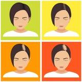 Fases da queda de cabelo das mulheres ilustração do vetor