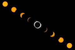 Fases de eclipse solar completo Fotografia de Stock