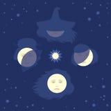 Fases de la luna como cuatro caras de la mujer Imagen de archivo libre de regalías