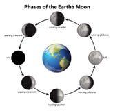Fases de la luna de la tierra Foto de archivo libre de regalías