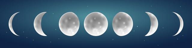 Fases de la luna en el ejemplo estrellado del vector del cielo ilustración del vector