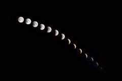 Fases de um eclipse lunar Fotografia de Stock Royalty Free