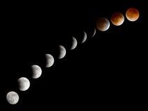 Fases del eclipse lunar de Bloodmoon fotografía de archivo
