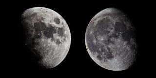Fases del ` s de la luna Media luna en el medio de su manera en el cielo claro Foto de archivo
