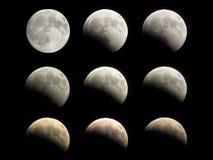 Fases do eclipse da lua Imagens de Stock