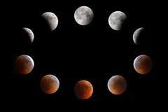 Fases do eclipse lunar 15-16 em julho 2011, Barém Imagens de Stock Royalty Free