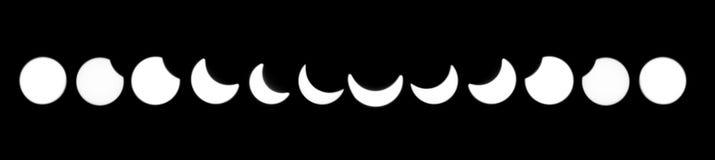Fases do eclipse solar Fotos de Stock Royalty Free