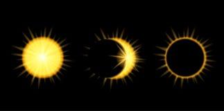 Fases do eclipse solar no céu escuro Imagens de Stock Royalty Free