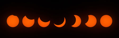Fases do eclipse solar parcial o 21 de agosto de 2017 Fotografia de Stock Royalty Free