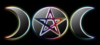 Fases pagãs da lua - arco-íris preto) O ( Fotografia de Stock