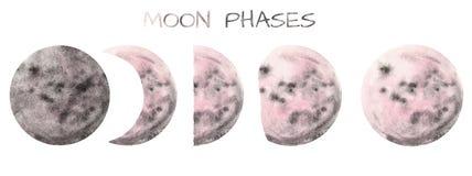 Fases pintados ? m?o da lua da aquarela metade e Luas cheias, isoladas no fundo branco imagem de stock