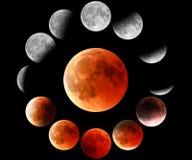 Fases rojas de la luna en círculo imagen de archivo libre de regalías