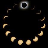 Fases totales del eclipse solar Eclipse solar compuesto stock de ilustración