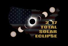 2017 fases totales del eclipse solar a través de América los E.E.U.U. Imagenes de archivo