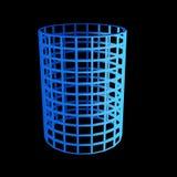 fasetterad blå cylinder 3d Arkivbild
