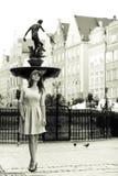 Fashin woman tourist outdoor on city street Stock Photo