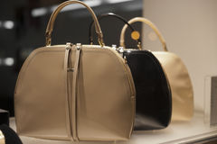Fashiom bag. Fashion luxury  showcase display shopping retail Stock Photo