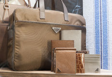 Fashiom bag. Fashion luxury  showcase display shopping retail mlothing Stock Image