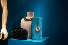 Fashiom bag. Fashion store  showcase display shopping retail luxury Royalty Free Stock Image