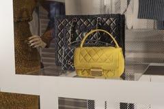 Fashiom bag. Fashion store  showcase display shopping retail luxury Stock Photos