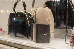 Fashiom bag. Fashion store  showcase display shopping retail luxury Royalty Free Stock Photos