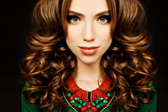 Fashiom Portrait of Curly Hair Woman. Girl with Curly Hairstyle Stock Photography