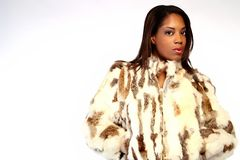 Fashion. A model wearing a fur coat Royalty Free Stock Photography