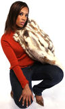 Fashion. A fashion model wearing a fur coat Royalty Free Stock Photography