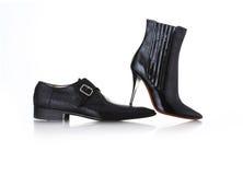 Fashion. Black shoes isolated on the white background royalty free stock photo