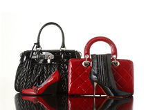 Fashion. Shoes and handbag on white background royalty free stock photography