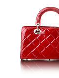 Fashion. Red ladies handbag on white background stock photography