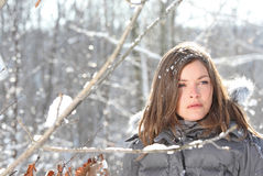 Fashion. Beauty girl in nature during winter Stock Photos