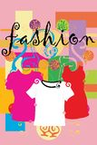 Fashion. Clothes styled retro colors and spirals Royalty Free Stock Photos