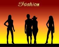 Fashion. Illustration with model silhouettes posing stock illustration