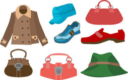 Fashion. A selection of clothes and fashion accessories royalty free illustration