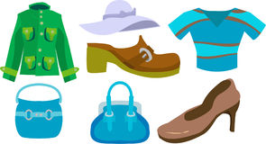 Fashion. A selection of clothes and fashion accessories vector illustration