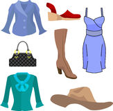 Fashion. A selection of clothes and fashion accessories stock illustration
