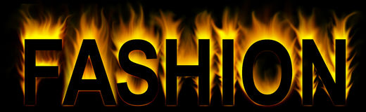 Fashion. Word in fire background Vector Illustration