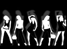 Fashion. Collection of different fashion silhouette and different women poses Stock Photos