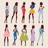 Fashion abstract vector girls looks. Fashion abstract vector girls look. Fashion woman looks portrait. Beautiful stylish girl or young woman vector cartoon style royalty free illustration