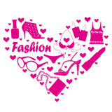 Fashion accessories. And clothing in heart Royalty Free Stock Photo