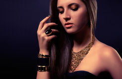 Fashion accessories. Charming woman with fashion accessories Royalty Free Stock Images