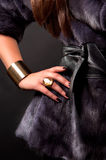 Fashion accessories. A hand of a young woman with jewel ring Royalty Free Stock Image