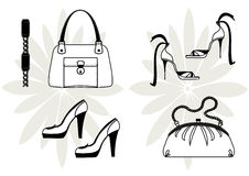 Fashion accessories. Bags and shoes for woman Royalty Free Stock Photo