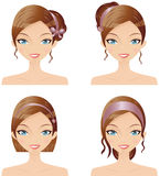 Fashion Accessories. Digital Collage Of A Woman Wearing Her Hair In Varying Styles With Accessories Royalty Free Stock Photos